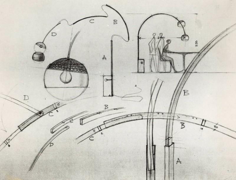 original sketches by Achille and Pier Giacomo Castiglioni (1962)