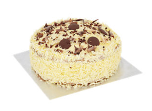 ASDA madeira cake with white chocolate frosting and chocolate decorations