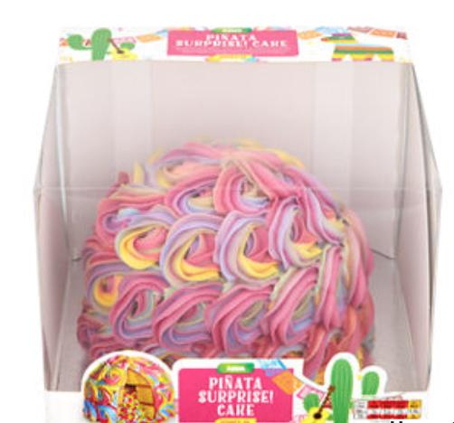 ASDA multicoloured piñata surprise cake filled with multicoloured sprinkles