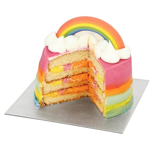 TESCO multicoloured rainbow cake