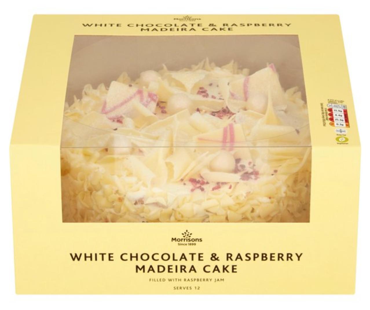 MORRISONS white chocolate and raspberry cake