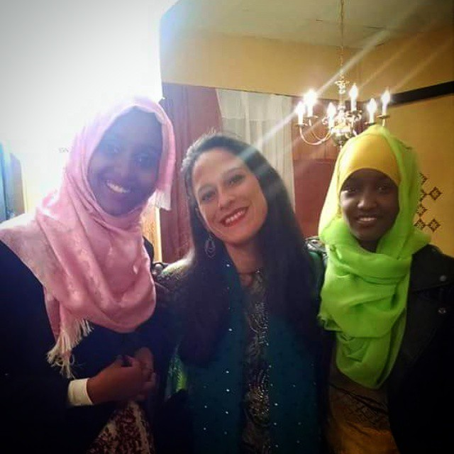 @etepler Erika Schneider was the catalyst for From Away. She is an ESL teacher at Deering high school in Portland, Maine. In a state that is almost 97% white the school is more than 50% students of color, many who are recent immigrants, refugees and asylum seekers. Here is Erika at her first Somali wedding. #maine #newmainer #teacher