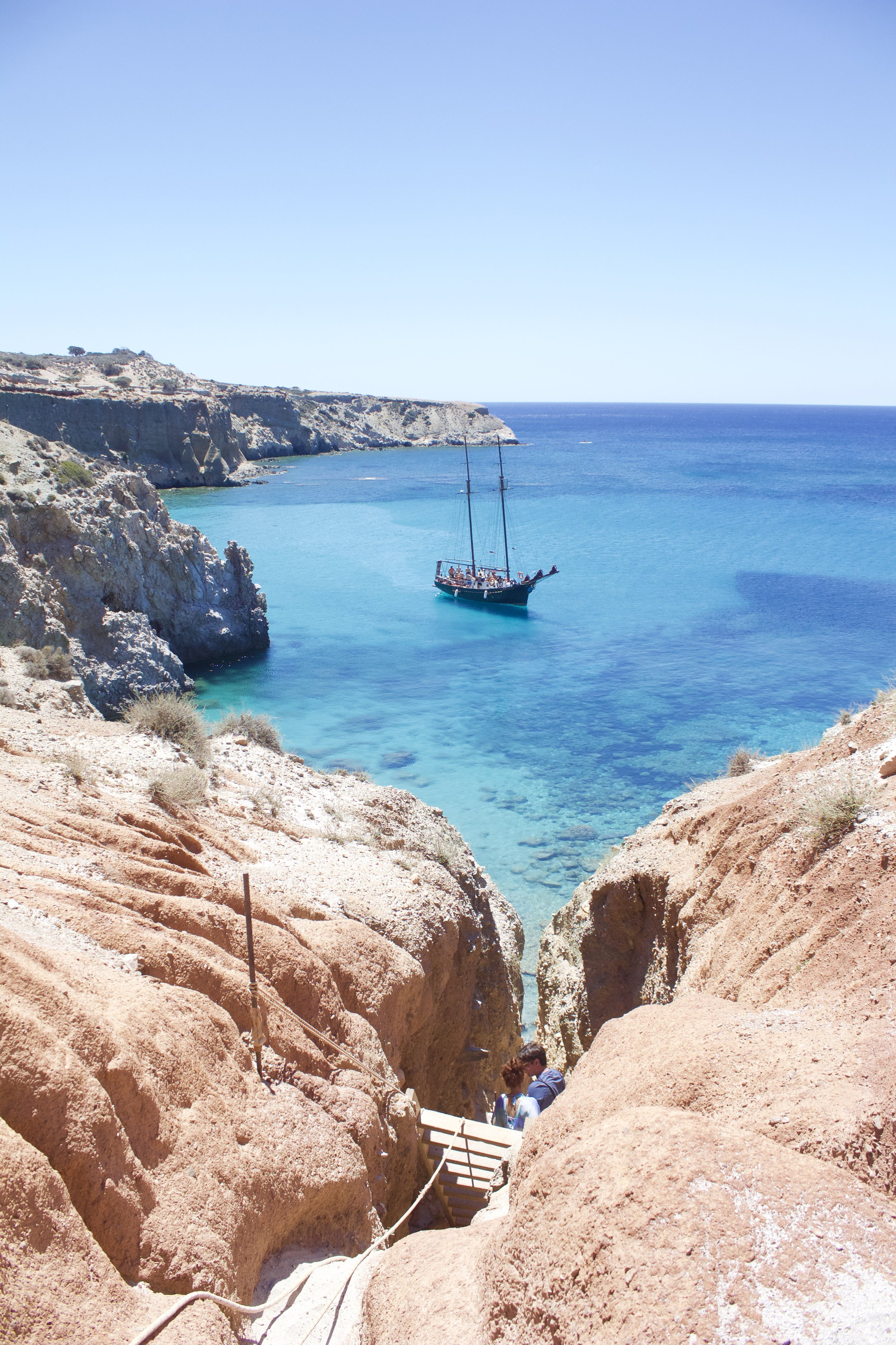 Tsigrado Beach, Milos. Accessible only by rope and ladder.