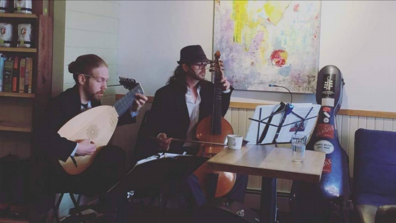 """The West Hempstead Consort at """"Jack Jack's Coffee House"""" Photo Credit: Nick Lee - Excellent Coffee here, kudos to Mike."""