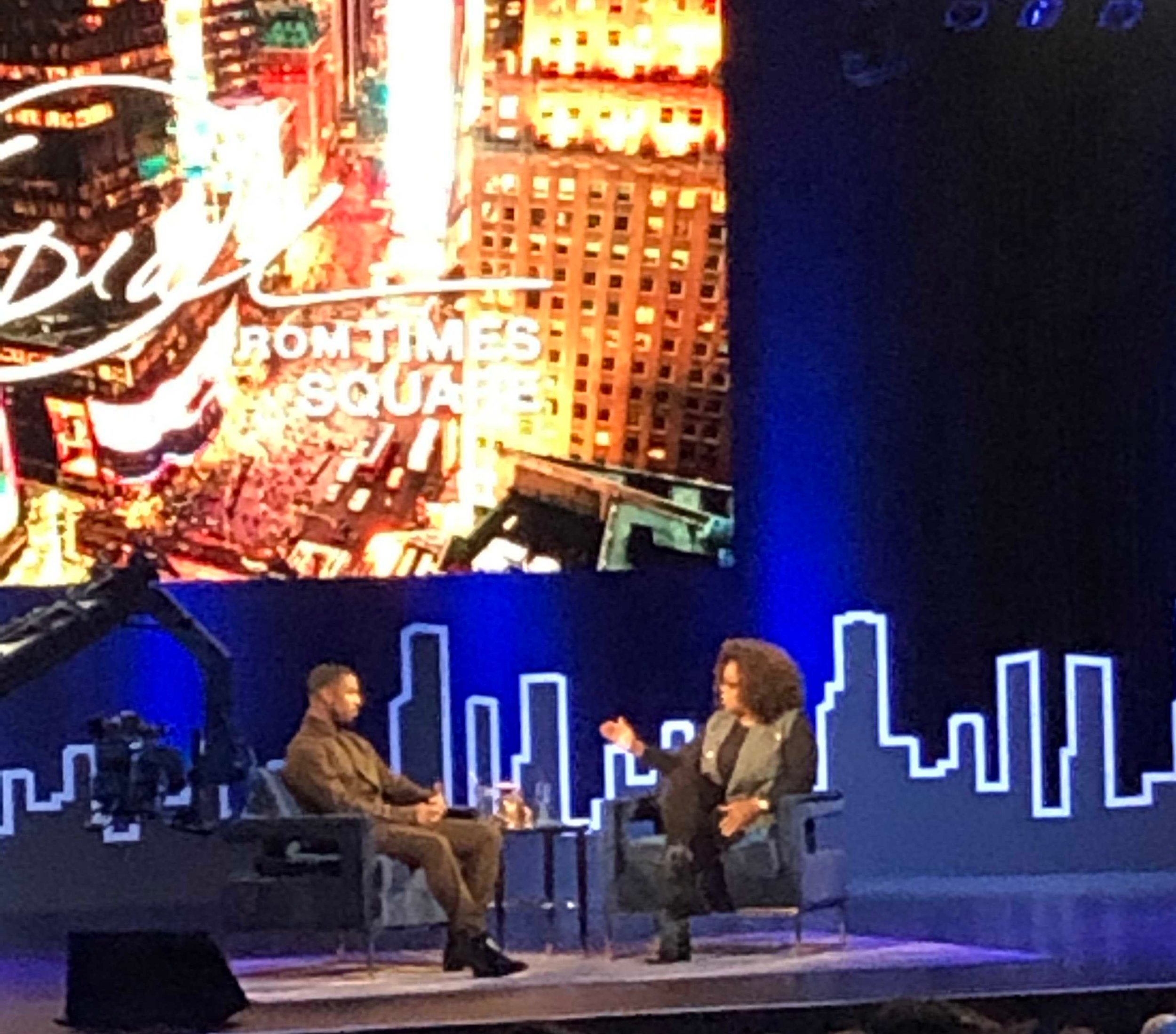 Michael B Jordan being interviewed by Oprah in Times Square for Supersoul Conversations on Tuesday February 5, 2019.