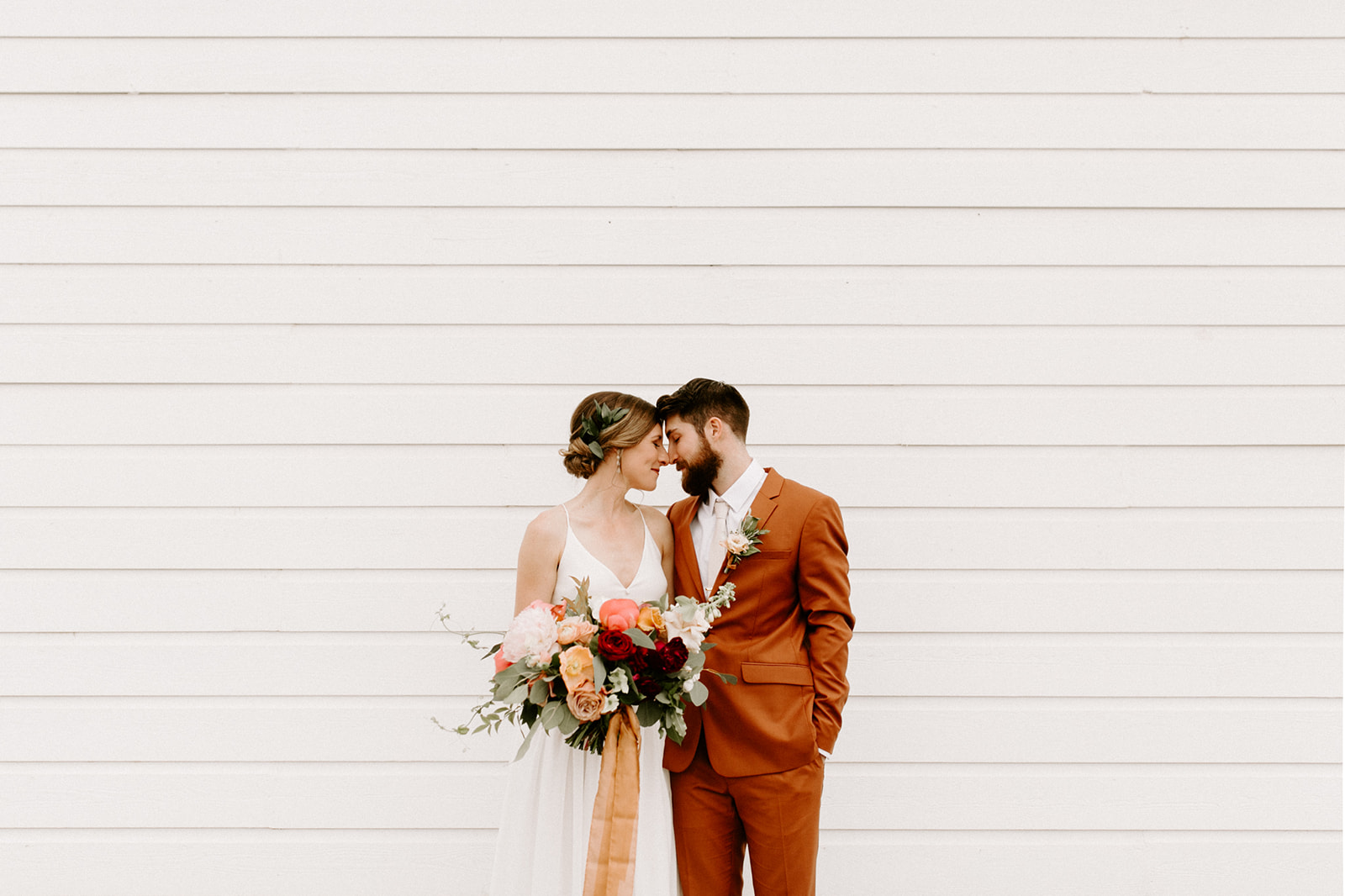 A bride and groom photo at their Butler Barn wedding in Oregon