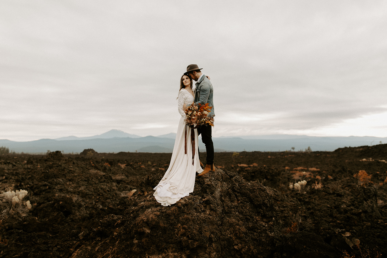 A bride and groom at their elopement in Bend, OR