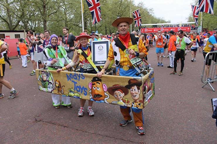 "London Marathon. Record for ""fastest marathon in a three-person costume"" time: 4:56:24. Photo: Guinness World Records. Found on    Runner's World   ."