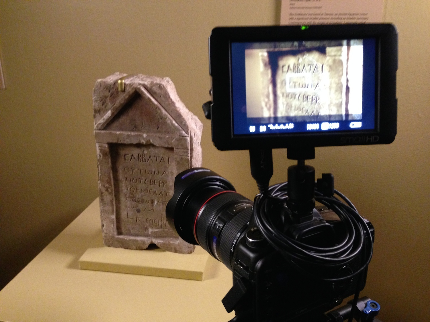 Filming at Yeshiva University Museum, New York.