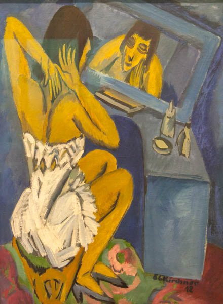 "14.1 Woman in Front of Mirror – ""Toilette,"" Painting by Ernst Ludwig Kirchner,"