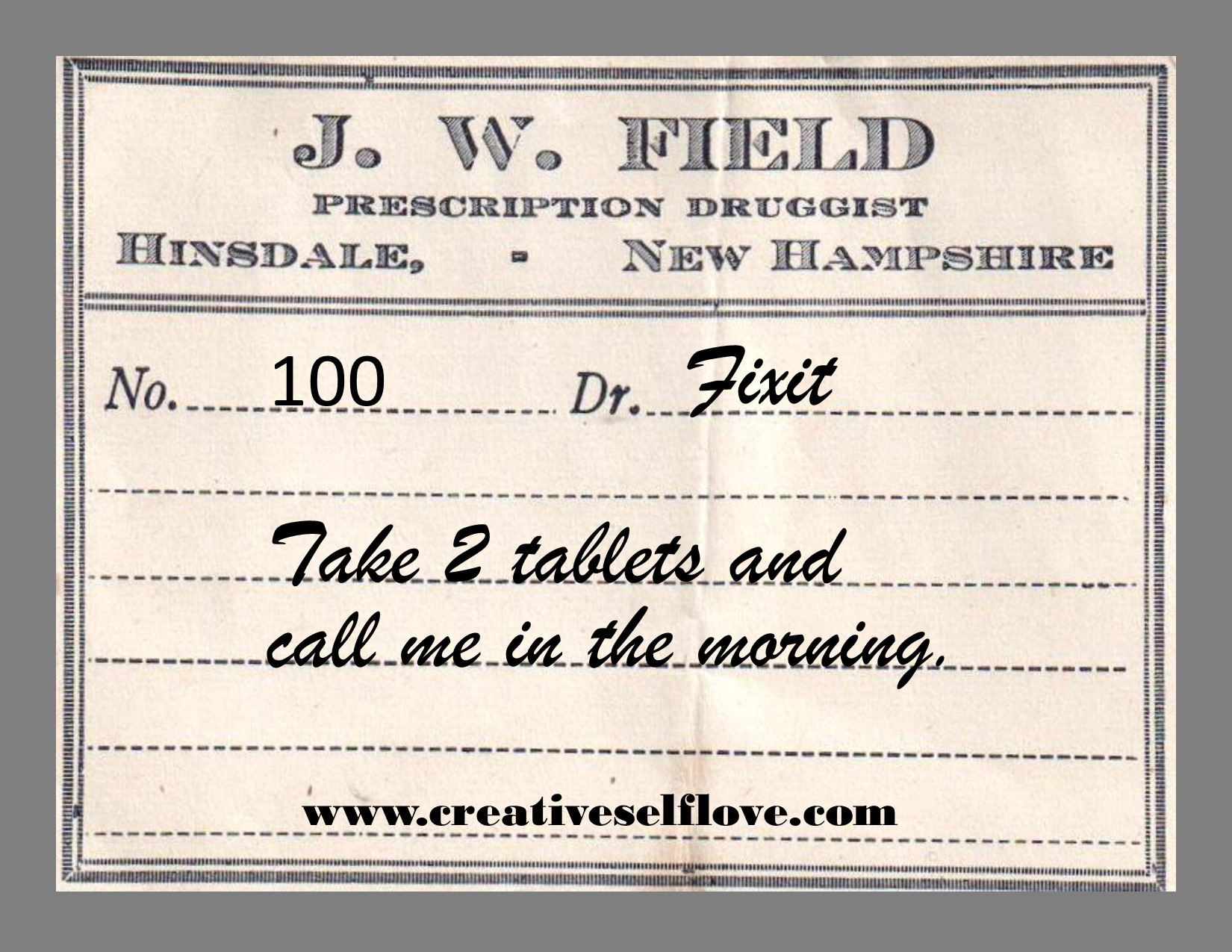 Take 2 Tablets – Graphics by author; background: vintage drug label, Heather,
