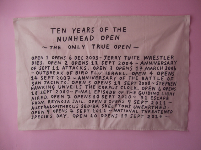 Image: Daniel Lehan's souvenir tea towel in celebration of the tenth Nunhead Open Art Exhibition.   The Surgery and Nunhead Open Art Exhibition.   Co- founded The Surgery an artist led project set up to promote and encourage opportunities for dialogue between artists. The Surgery had use of a shop front gallery space on Evelina Road from 2002-2008 where over forty events, projects and exhibitions took place. The Surgery established Nunhead Arts week & founded The Nunhead Open Exhibition ( 2003-2014).   http://thesurgery.turnpiece.net/