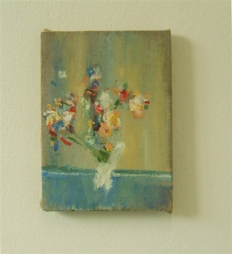 The bird flower vase, oil on linen, 18 x 13 cm, 2011