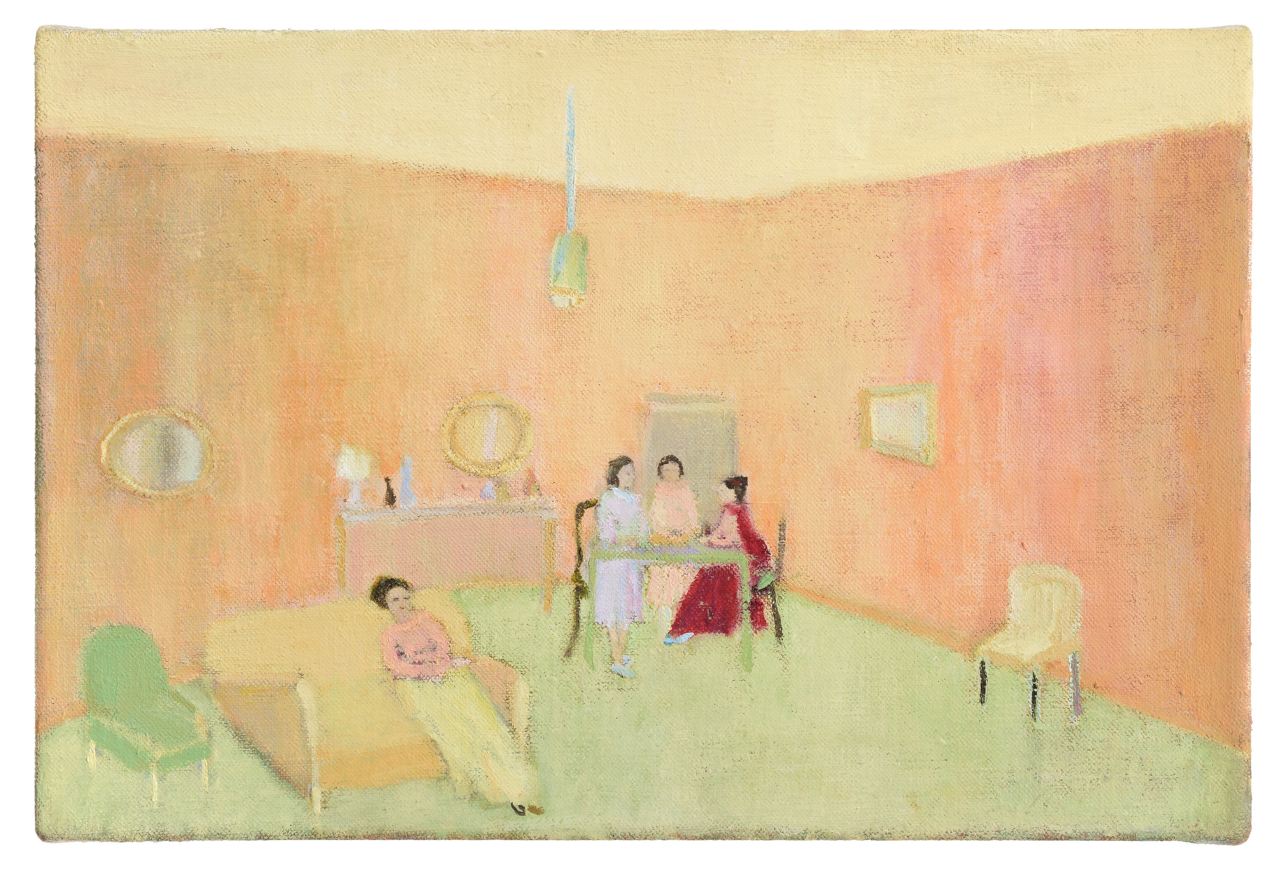 Kathleen, Alice, Hannah and Mary front room, 2015, Oil on linen, 20 x 30 cm