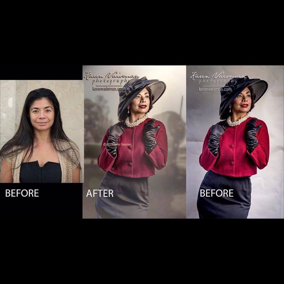 Before and After Hollywood Glamour Portrait - (818) 991-7787-Karen Vaisman Photography- Calabasas - Westlake Village