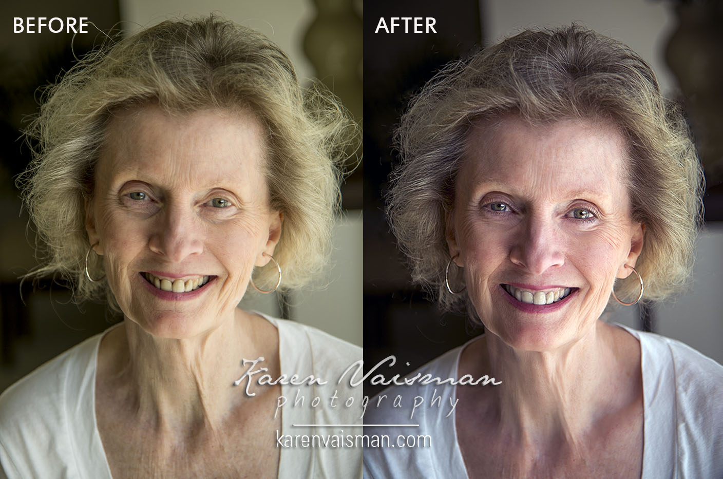 Before and After - Digital Makeup, Hair and Makeover - Westlake Village, Malibu - Karen Vaisman Photography (818) 991-7787