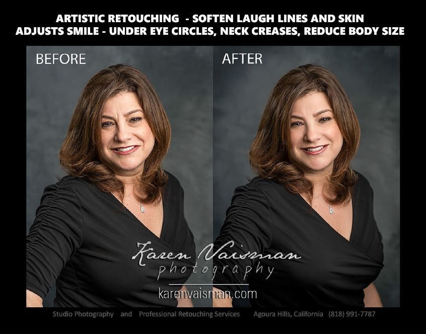 Before and After Professional Retouched  Portrait  Business Headshots  in  Los Angeles  and  Ventura County