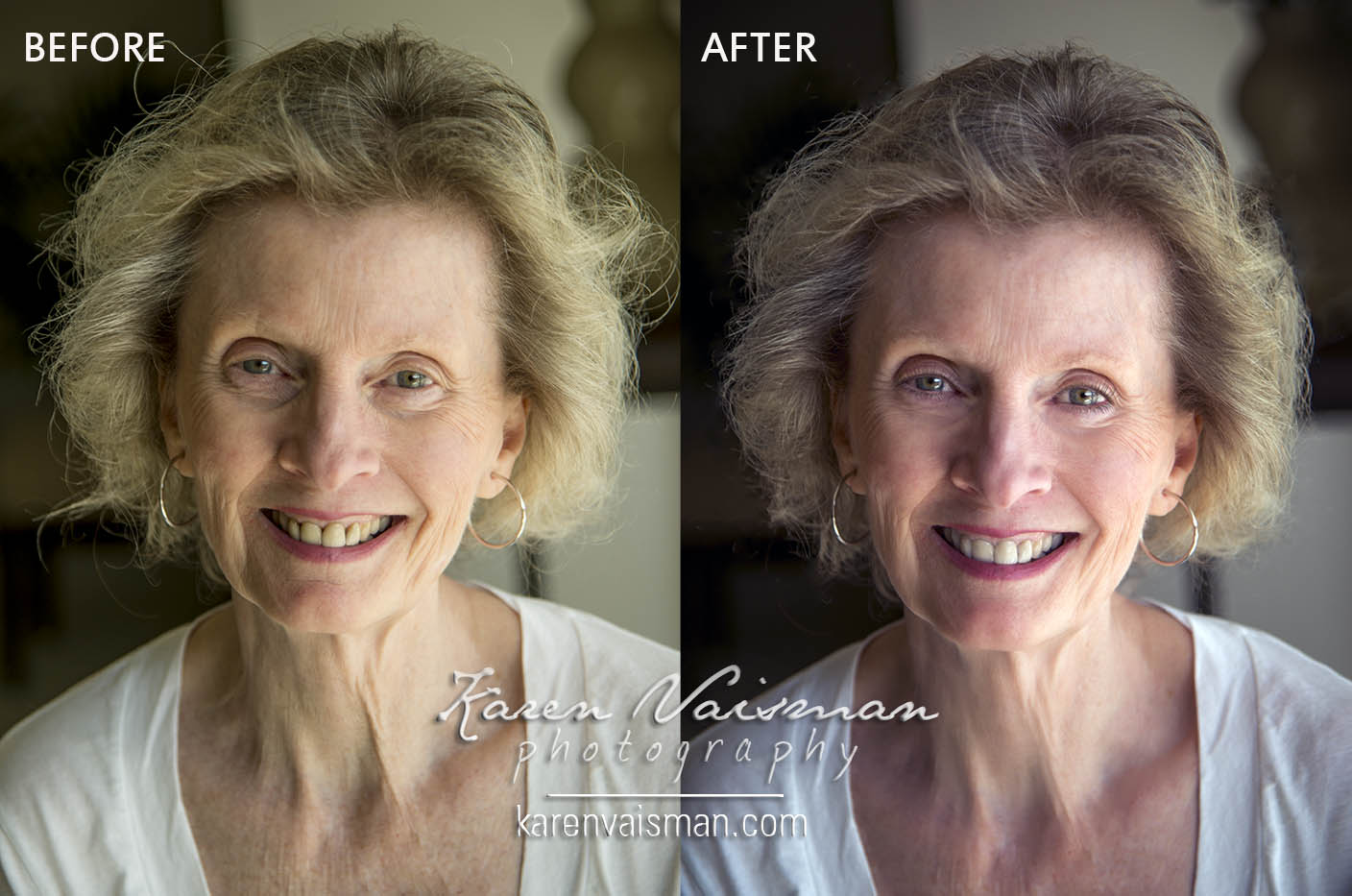 "Karen Vaisman Photography offers  professional retouching  that embraces the fine balance between ""enhancing"" your look with Photoshop without completely overdoing it. You want to show your true self; that sparkle in your eyes while removing distractions (stray hairs, under eye circles) but still reflect warmth with a welcoming smile. Professional retouching by Karen could make the difference between that 1/10th of a second,  research shows, is all it takes to get passed over  and having that  special someone  actually stop, take a closer look, and then contact you!"