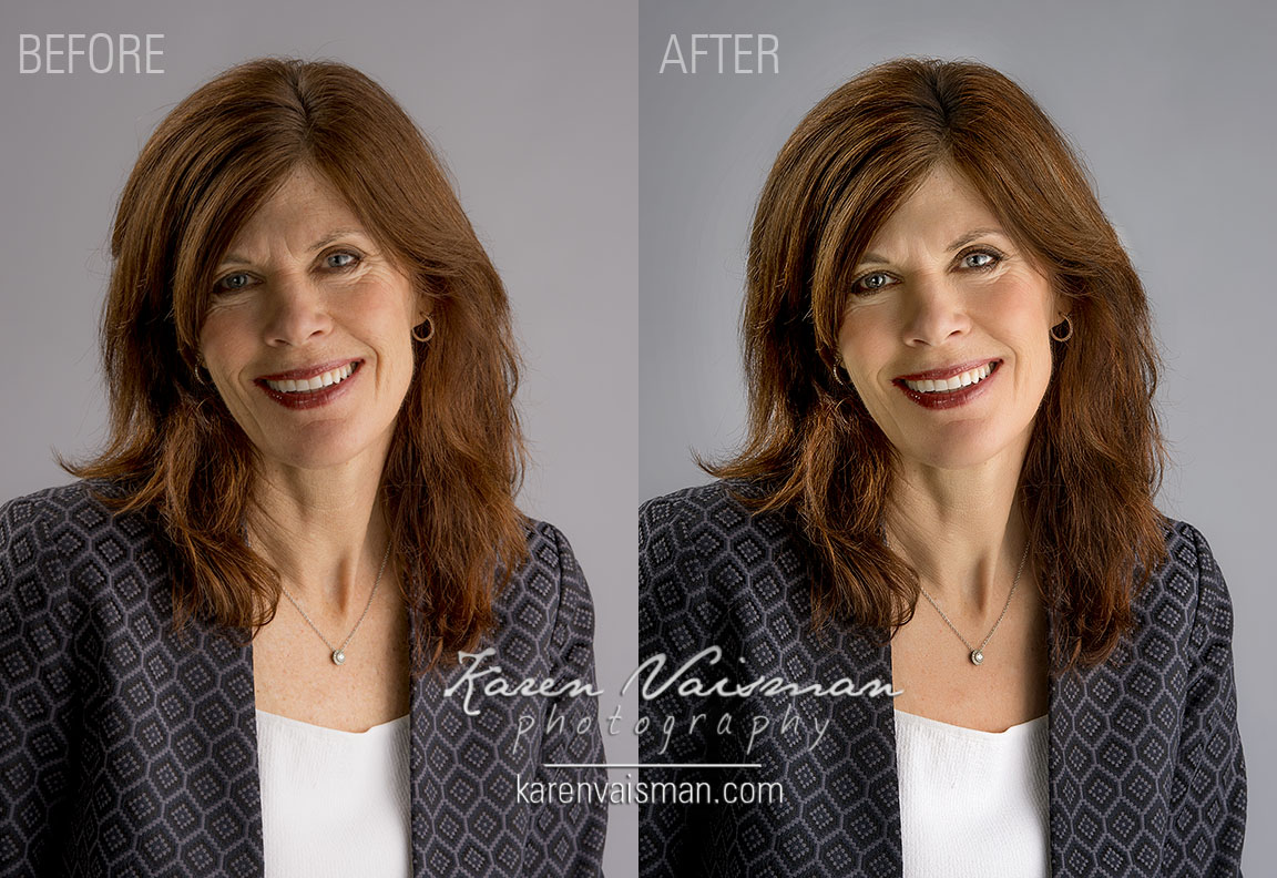 Proper lighting and gentle enhancing in Photoshop can make your eyes sparkle so your features shine.