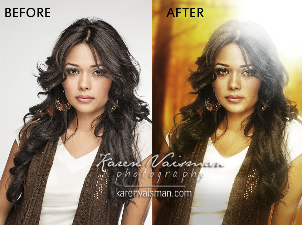 Before and after professional retouching work - virtual background added.