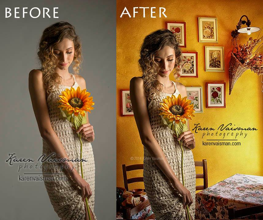 Before and After Retouching artwork with new background added to set the scene.