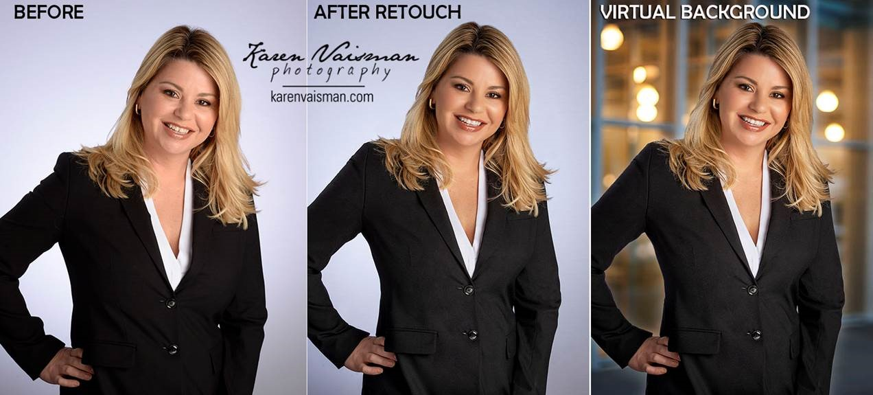 Professional Retouching offers subtle weight-loss, skin softening, virtual backgrounds, teeth whitening, stray hair removal, wrinkle removal, straighten folds in clothing, and more…