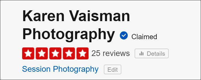 Yelp 5-Star Reviews - Karen Vaisman Photography - Agoura Hills, California