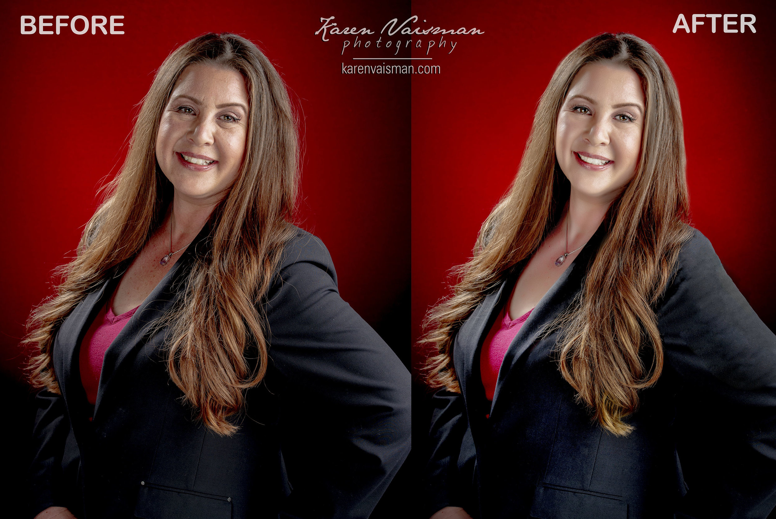 Before and After Professional LinkedIn Profile Picture Retouching - Notice smile adjustment, weight-loss, skin softening, under eye circles, neck crease removal, reduce wrinkles, lighten brow crease and smile lines.
