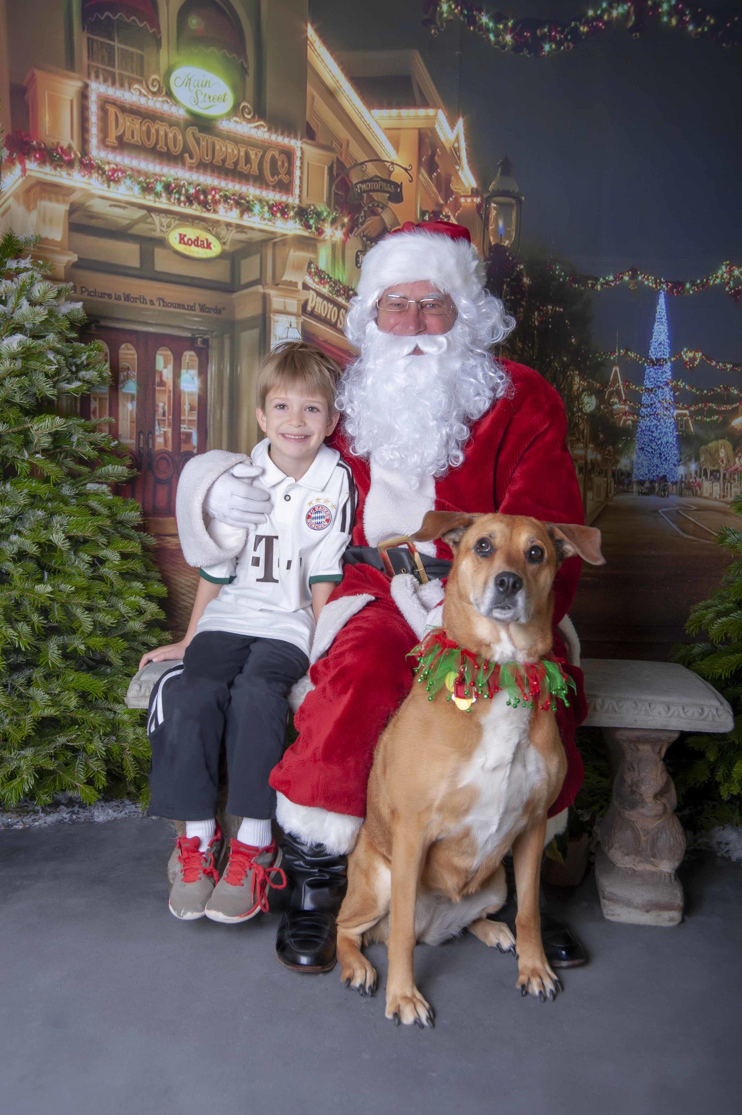 A Boy, his Dog and Santa!