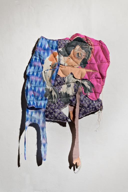 Pink Shades, 2016 Fabric, batting, thread, latex paint 26 × 15 in