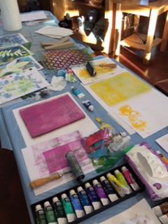 gelli plates on table.JPG
