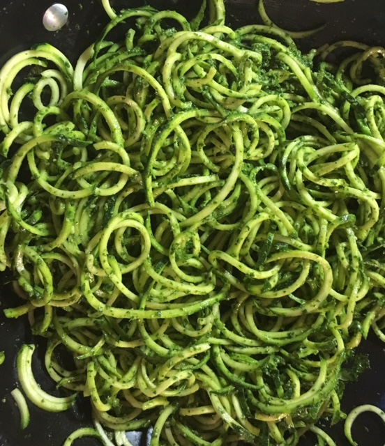 zoodles with carrot-top pesto