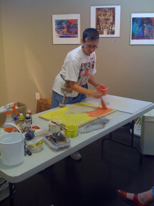 #3: adding color by painting on the slab