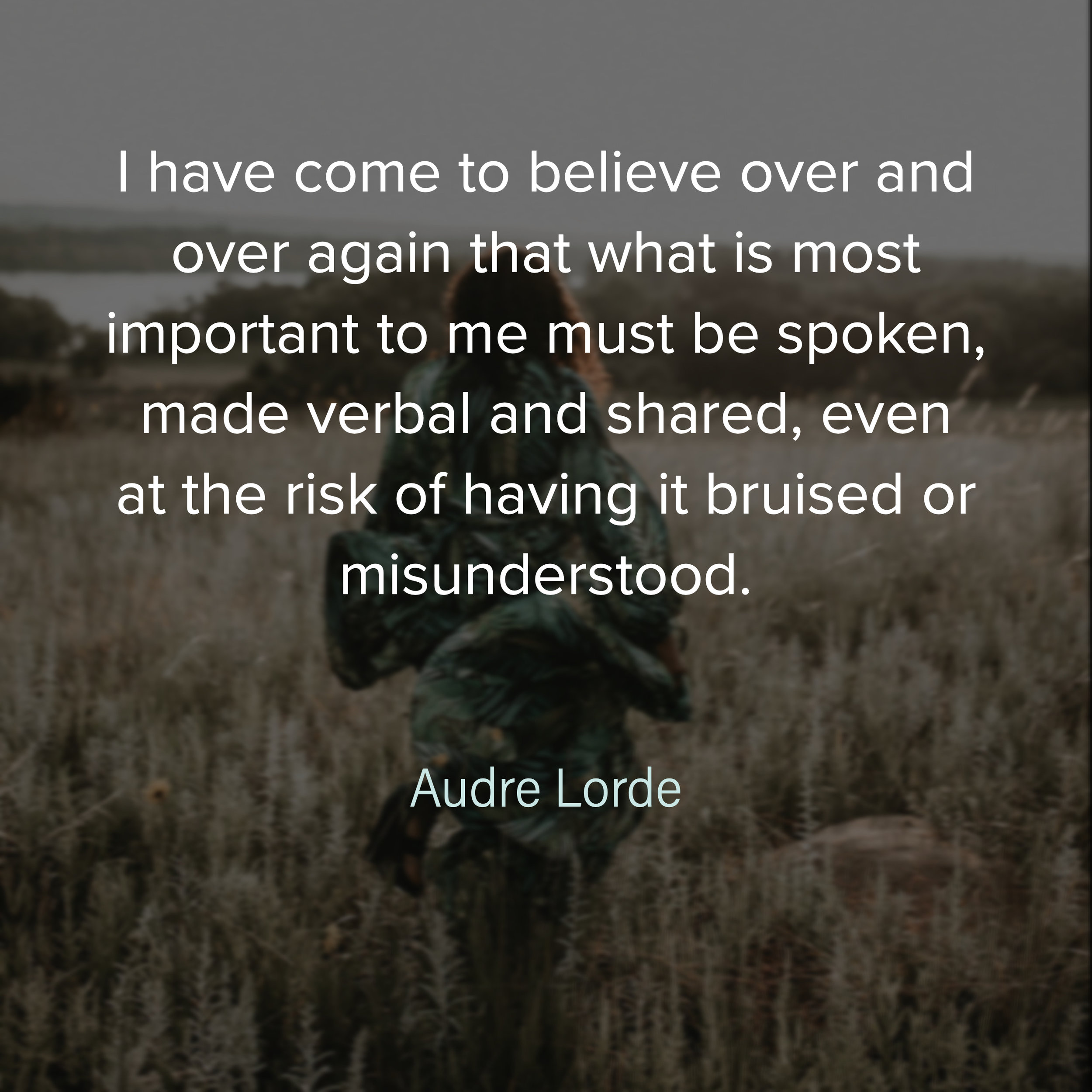 I have come to believe over and over again that what is most important to me must be spoken, made verbal and shared, even at the risk of having it bruised or misunderstood. Audre Lorde