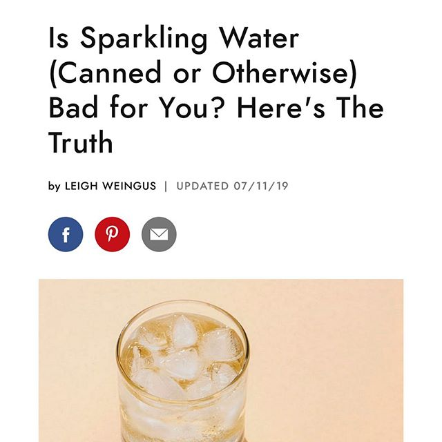 Is sparkling water bad for you? I get this question a lot in my practice and had a great chat with @leighweingus for her article in @byrdiebeauty on the topic. ⁠⠀ ⁠⠀ Here's what we hashed out....⁠⠀ ⁠⠀ Yes, sparkling water is a much better alternative to soda, but not all brands are created equal and there are certain populations of people who should definitely skip sparkling water for health reasons.⁠⠀ ⁠⠀ The best option for carbonated water is sparkling mineral water, which comes from naturally occurring, physically protected underground water springs. Sparkling water from these sources are naturally carbonated and contain health-benefiting minerals that support muscle function and recovery, balance the fluids in our bodies, and support the nervous system. Some mineral waters also contain bicarbonate, which helps to balance the pH in our body fluids. ⁠⠀ ⁠⠀ Keep in mind that sparkling water may not be the best option for people with IBS, acid reflux or other gastrointestinal conditions because the carbonation tends to cause gas and bloating. ⁠⠀ ⁠⠀ 💧For more information and a few recommendations, check out the article below! ⁠⠀ ⁠⠀ https://www.byrdie.com/is-sparkling-water-bad-for-you-4692041⁠⠀