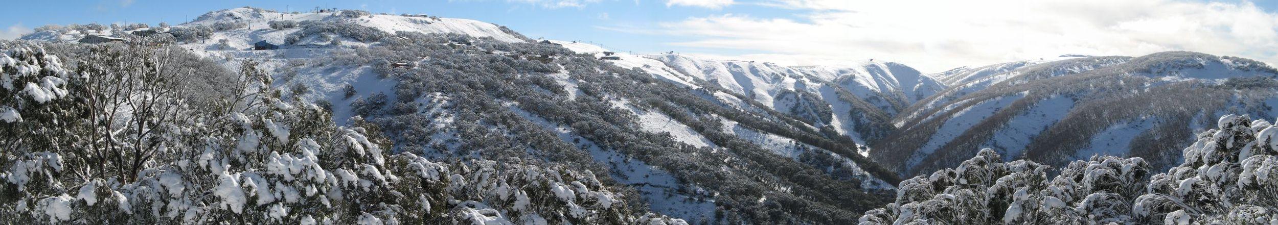 View of Mt Hotham ski fields after 20 cm fresh snowfall