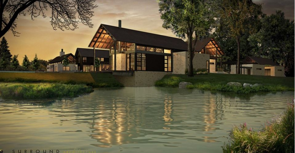 Rendering; View of the cantilevered deck outside the clubhouse