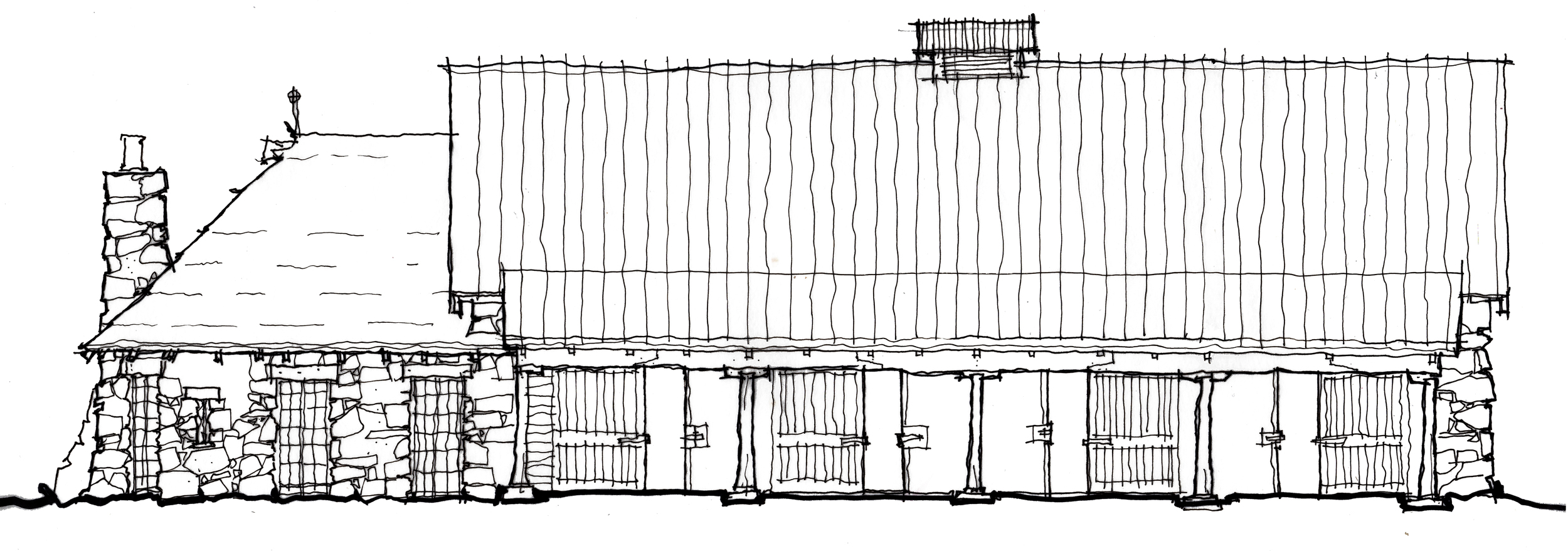 """Early sketch of the east elevation of """"Animal House"""""""