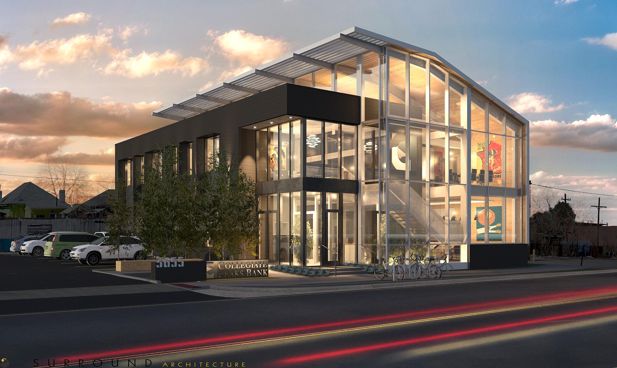 Rendering of Collegiate Peaks Bank in RiNo, Denver