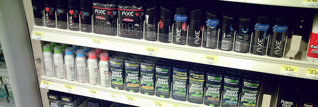 Cans of deodorant at the supermarket