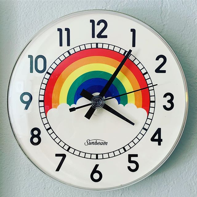 I never knew that I needed a rainbow clock, but now that I have one, my world feels complete.  #rainbowjoy🌈