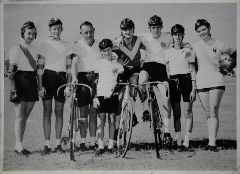John Whip at Hawthorne Park velodrome Brisbane, standing in the centre. Surrounded by his club mates who raced at Hawthorne Park track.