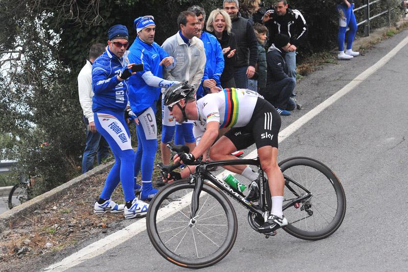 Pinarello Dogma cranked over with Sky team rider Mark Cavendish