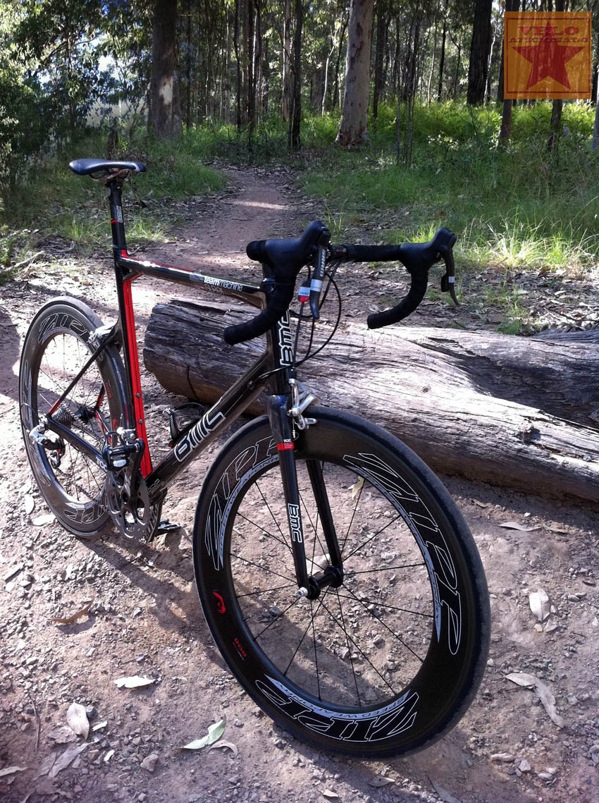 Ready for single track riding the BMC bikes Team Machine SLR01 with Zipp 808's. Don't test the theory or you'll void your warranties.