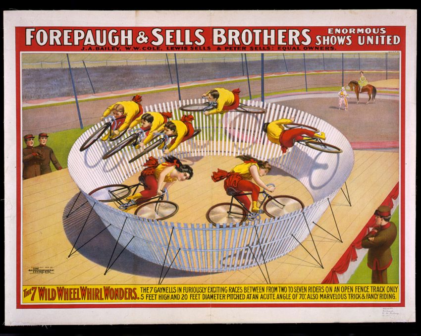 The seven wild wheel whirl wonders, mini velodromes from the circus.