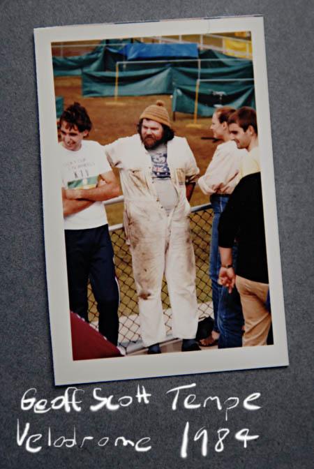Geoff Scott bike builder at Tempe velodrome in 1994