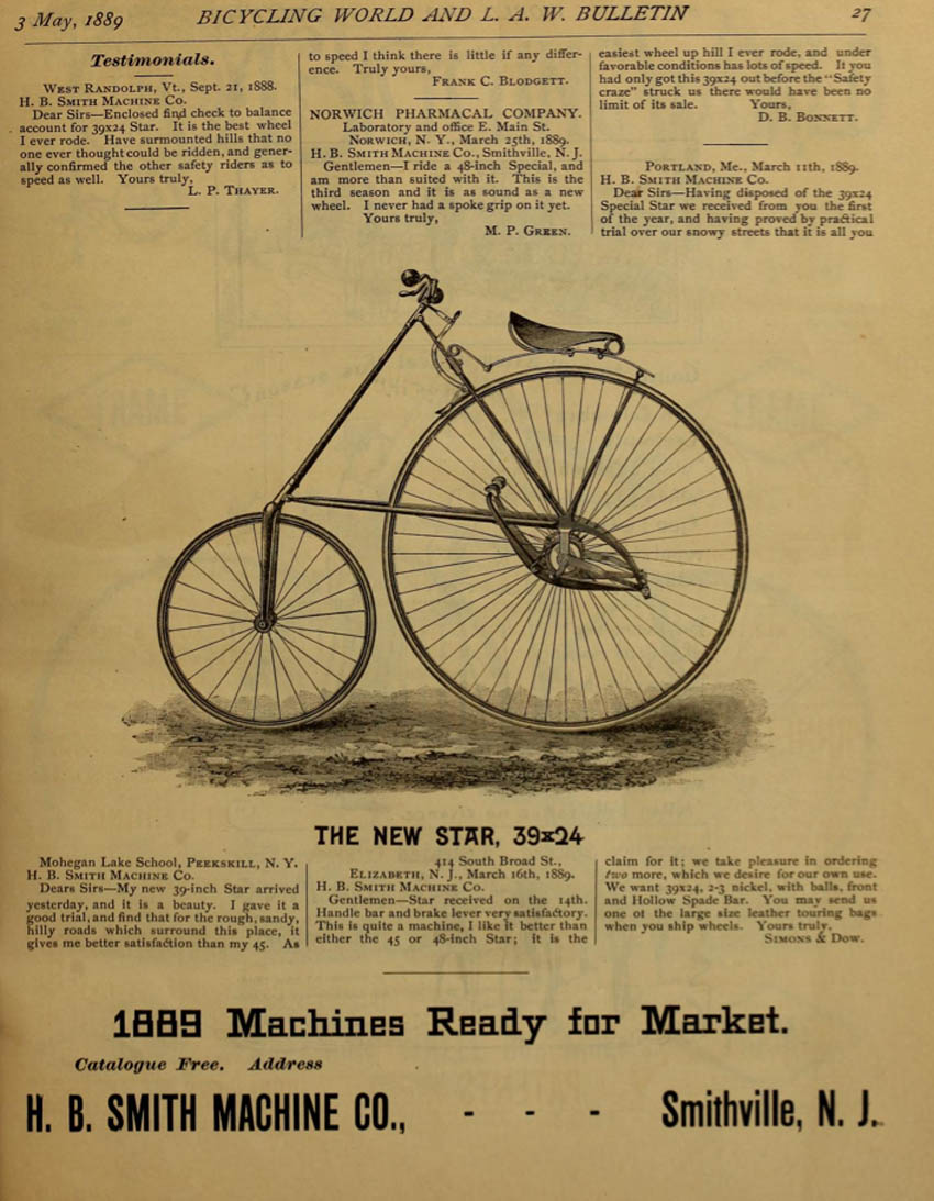 1889 American Star Bicycle advertisement for H. B Smith Machine CO
