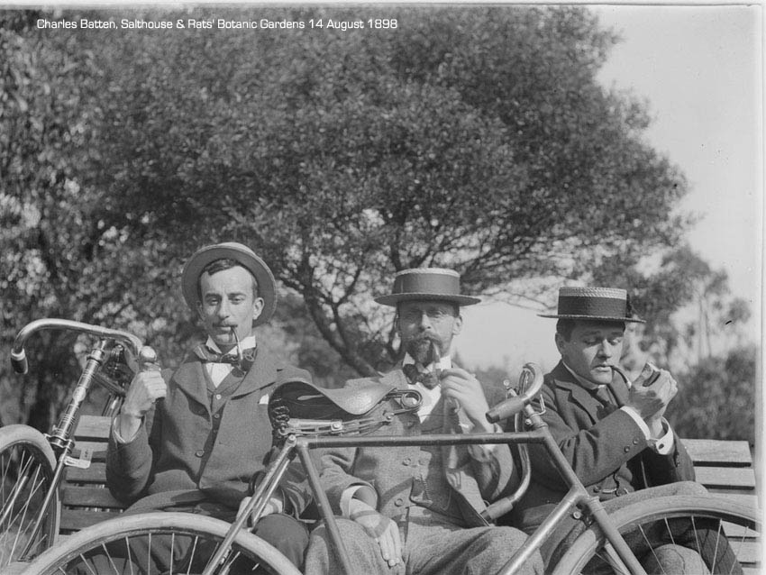 Cyclists, bragging about bedroom antics since cycling began.  Image by  Mark James Daniel 1867-1949 State Library of Victoria.