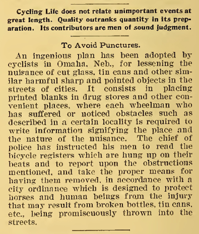 Best Puncture Pevention Ever. Cycling Life reported the best plan for 1895 for puncture prevention.