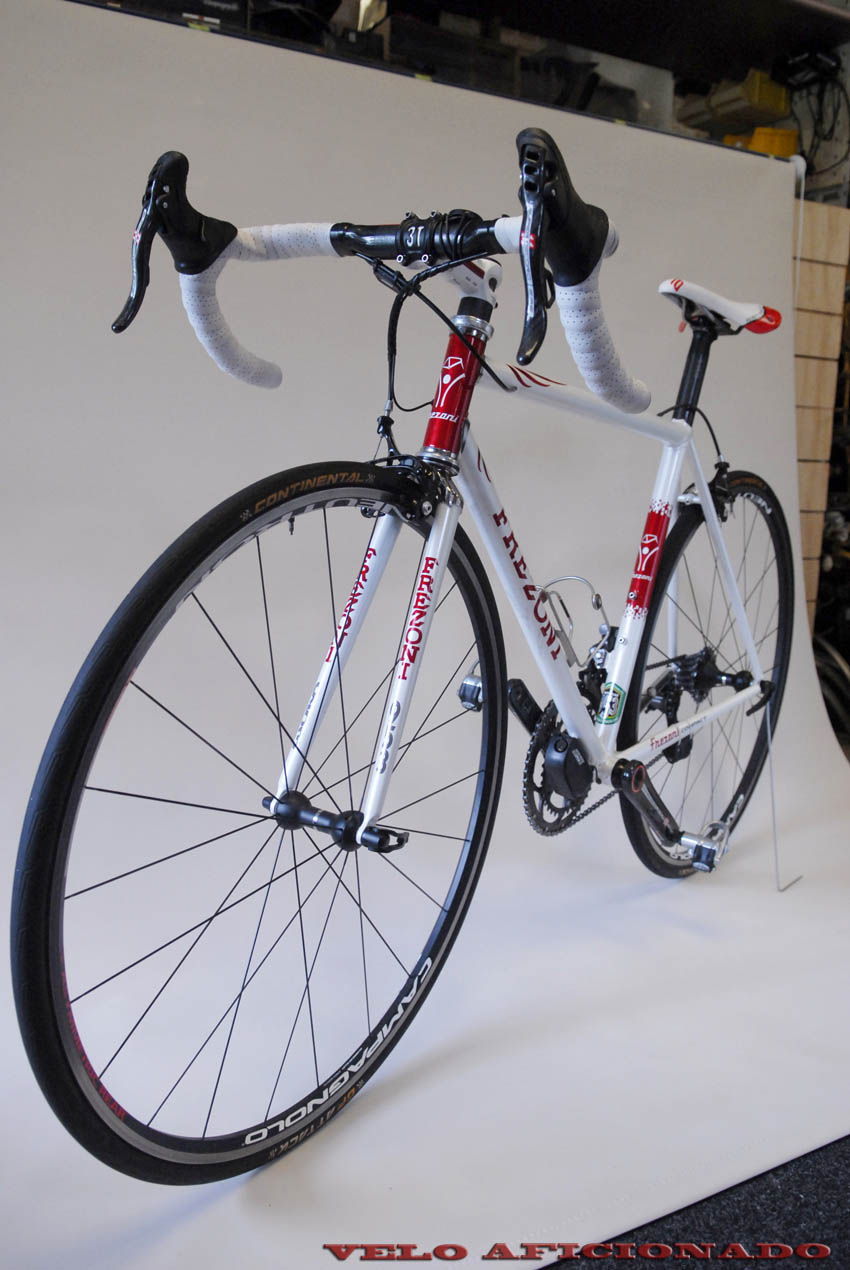 The Campagnolo battery unit was later located in the seat tube.Joe had to strip down the bike, put in a new larger diameter seat tube, then re-paint to accommodate a new EPS battery unit. After all that the bike was written off when a careless driver flattened it into the road